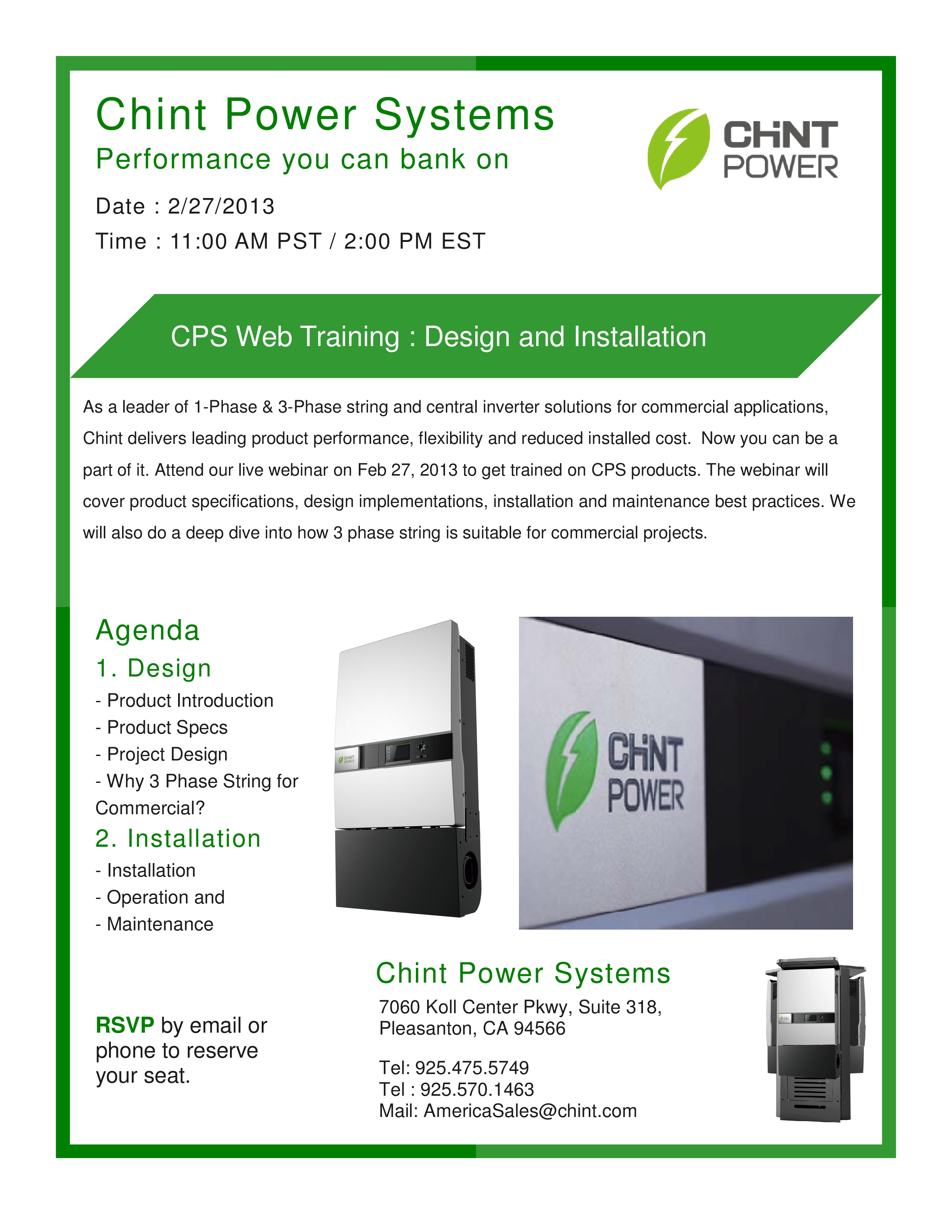 Training - CHINT: Design and Installation of Solar PV Systems Inverters